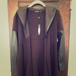 Blank NYC Brown duster sweater with faux leather.